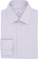 Brioni Men's Grid-Checked Twill Shirt-LIGHT PURPLE