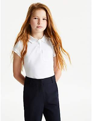e1bb42a60 John Lewis & Partners Pure Cotton Easy Care Scallop Collar School Polo Shirt,  Pack of