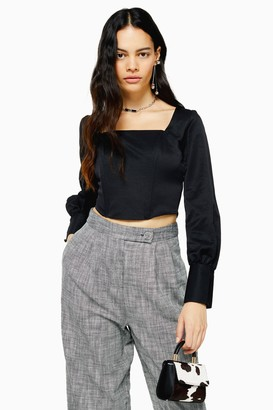 Topshop Boned Long Sleeve Bodice Blouse