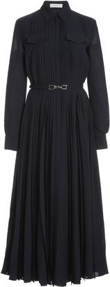 Gabriela Hearst Erella Pleated Wool-Cashmere Shirt Dress