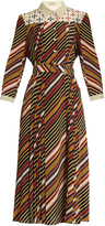 Bottega Veneta Diagonal-print silk-crepe midi dress
