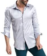Zhhmeiruian Mens Fashion Shiny Long Sleeve Solid Color Silk Like Dress Shirt