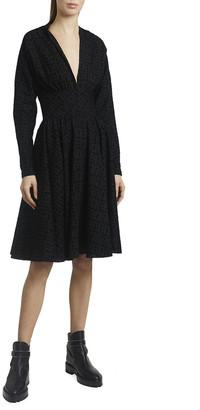 Alaia Tornado Flocked Wool Chiffon Long-Sleeve Dress