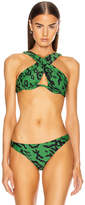 Self-Portrait Self Portrait Leopard Cross Front Bikini Top in Green & Black   FWRD