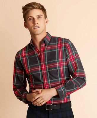 Brooks Brothers Black Stewart Tartan Flannel Shirt