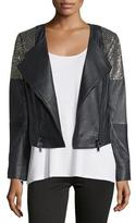 Haute Hippie Embellished Leather Moto Jacket, Black/Antique