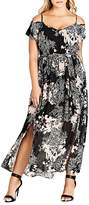 City Chic Shadow Floral Print Cold Shoulder Maxi Dress