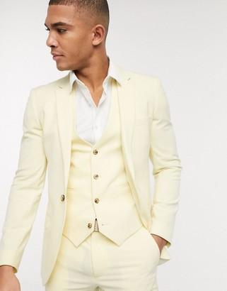 ASOS DESIGN super skinny suit jacket in lemon yellow