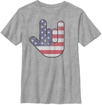 Fifth Sun Boys' Tee Shirts ATH - Athletic Heather USA 'Love' Sign Crewneck Tee - Boys
