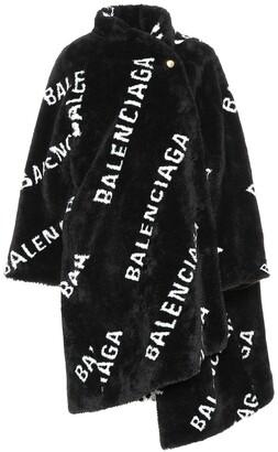 Balenciaga Allover Logo faux fur coat