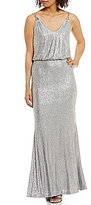 Calvin Klein Novelty Sparkle Knit Blouson Gown