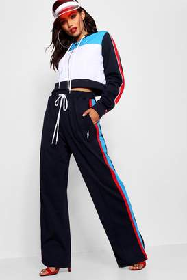 boohoo Pepsi X Side Stripe Wide Leg Pant