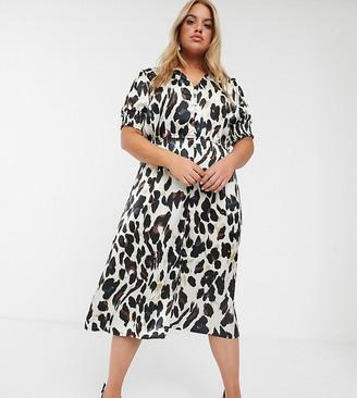 Simply Be midi tea dress in leopard print