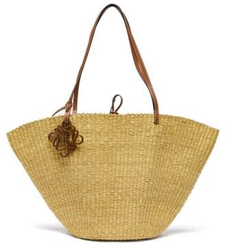 BEIGE Loewe Paula's Ibiza - Shell Large Leather And Raffia Basket Bag - Womens
