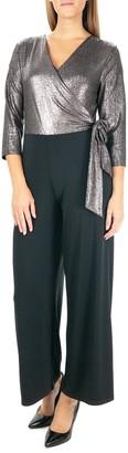 Nina Leonard 3/4 Length Sleeve Wrap Tie Top