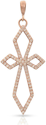 Dominique Cohen 18k Rose Gold Champagne Diamond Delicate Deco Cross Pendant
