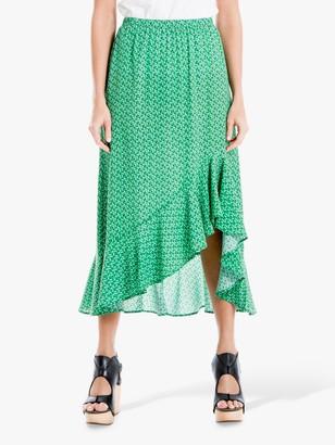 Max Studio Midi Printed Frill Hem Skirt, Lawn/Navy