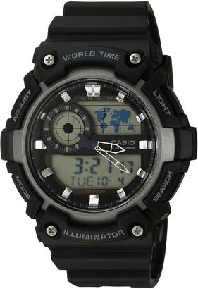 Casio Men's 'Super Illuminator' Quartz Resin Casual Watch Color:Black (Model: AEQ-200W-1AVCF)
