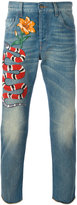 Gucci snake embroidered slim-fit jeans - men - Cotton - 30