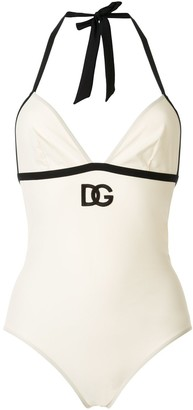 Dolce & Gabbana embroidered logo swimsuit