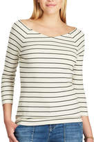 Chaps Women's Striped Ribbed Top