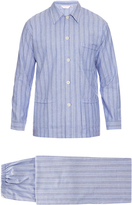 Derek Rose Flannel-cotton herringbone pyjama set