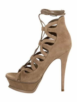Saint Laurent Suede Cutout Accent Gladiator Sandals Brown