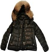 Moncler Fur Hood Black Synthetic Jackets & Coats