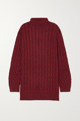 ANNA QUAN - Dante Cable-knit Cotton Sweater - Burgundy