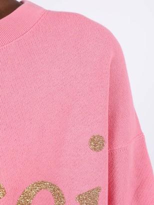 Gucci Oversized Glitter Logo Sweatshirt Pink Rosebud