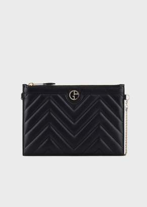 Giorgio Armani Clutch Pochette In Chevron-Print Leather With Enamelled Logo