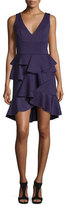 Jovani Sleeveless V-Neck Ruffle Dress, Purple