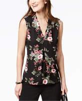 Nine West Pleated Floral-Print Top
