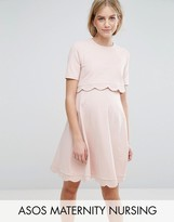 ASOS Maternity - Nursing ASOS Maternity NURSING Scallop Dress with Short Sleeve