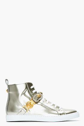 Versace Gold leather Logo stud Sahara Sneakers