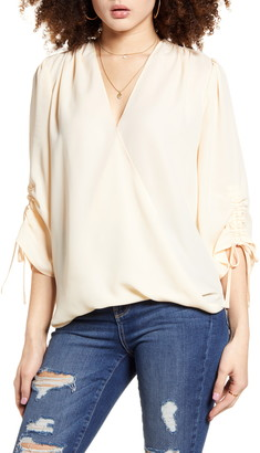 Band of Gypsies Parma Ruched Sleeve Top