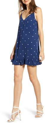 Cupcakes And Cashmere Polka Dot Ruffle Hem Mini Dress