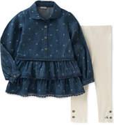 Calvin Klein 2-Pc. Logo-Print Denim Tunic & Leggings Set, Little Girls (4-6X)