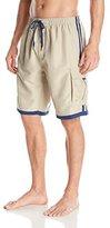 Burnside Men's Impersonator Elastic Waist Knee Length Swim Trunk