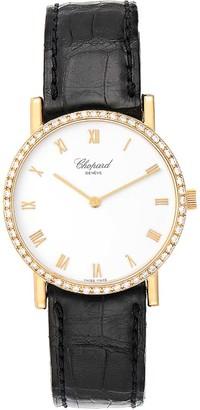 Chopard White 18K Yellow Gold Diamonds Classique 3154 Men's Wristwatch 34 MM