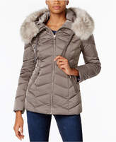 T Tahari Faux-Fur-Trim Hooded Coat