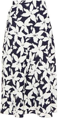 Joie Floral-print Crepe De Chine Midi Skirt
