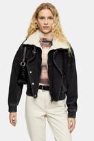 Topshop Washed Black Denim Biker Zip Jacket
