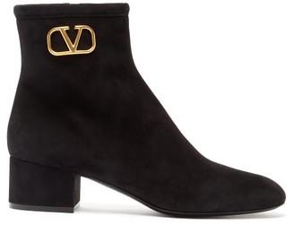 Valentino Garavani - V-logo Suede Ankle Boots - Womens - Black