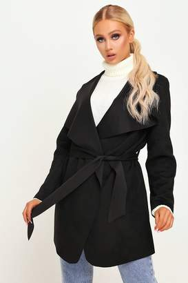 I SAW IT FIRST Black Suede Waterfall Belted Jacket