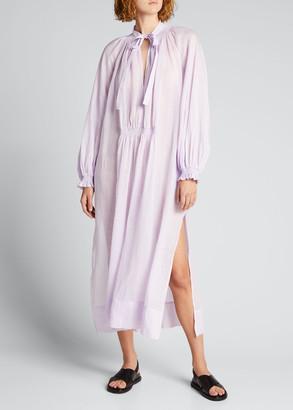 Lee Mathews Soma Tie-Neck Maxi Tunic Dress