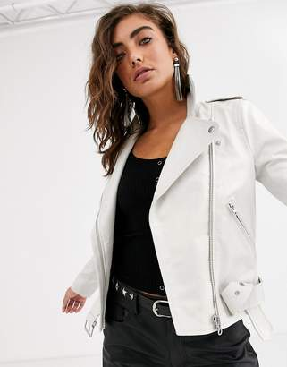 Object Leather jacket in cream-White