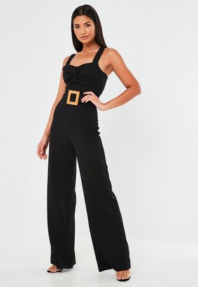 Missguided Black Square Buckle Twist Front Romper