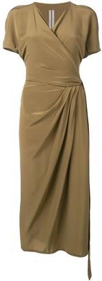 Rick Owens Gathered Detail Wrap Dress