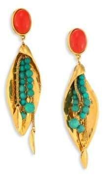 Aurelie Bidermann Monteroso Turquoise Clip-On Drop Earrings